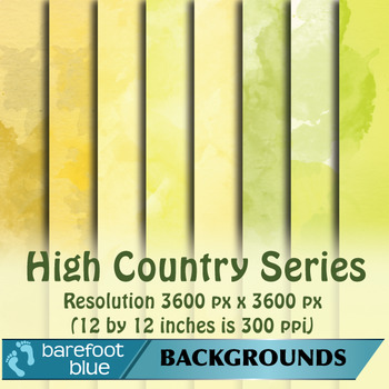24 Watercolour Printable Digital Papers, High Country Colours
