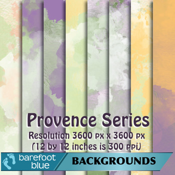 24 Watercolour Printable Digital Papers, Provence Colours