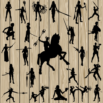 24 Woman Warrior Silhouette, SVG, DXF, PNG, EPS, Vector, Weapon. Fighter, Women.