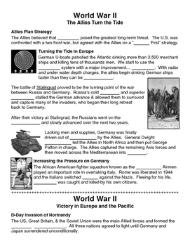 24 - World War II - Scaffold/Guided Notes (Blank and Filled-In)