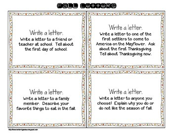 24 Write About It Task Cards for Fall