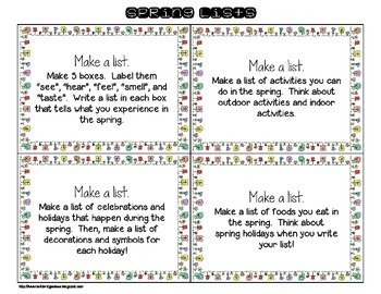 24 Write About It Task Cards for Spring
