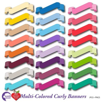 Banner Clipart, Mulit-colored Bunting, { Best Teacher Tools } AMB-553