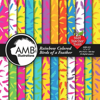 Feathers Digital Papers, Bright Colors Feather Papers and backgrounds, AMB-429