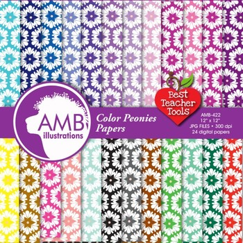 Digital Papers - Floral digital paper and backgrounds, AMB-422