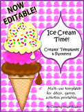 ICE CREAM Patterns, Shapes and Templates (EDITABLE)