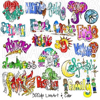 Power Words - Goal Words - Focus Words - Adult Coloring