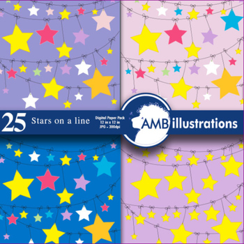 Star Papers and backgrounds, 24 stars on a clothesline scrapbook paper AMB-316