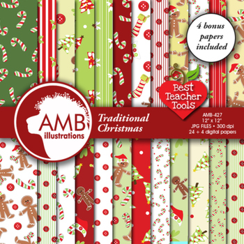 Digital Papers - Christmas Papers and Backgrounds, AMB-427