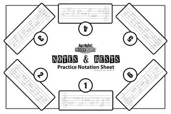 "24""x36"" Practice Notation Mat (6 way) / MrMikesMusicMats"