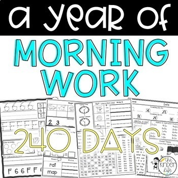 240 Days of Morning Work: A Complete Year- Kindergarten or 1st Grade