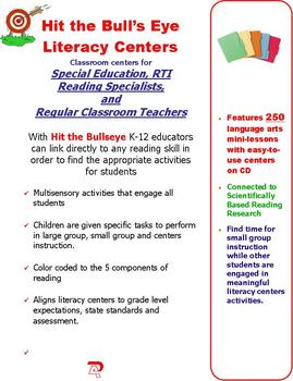 240 Hit the Bullseye Literacy Centers in English and Spanish