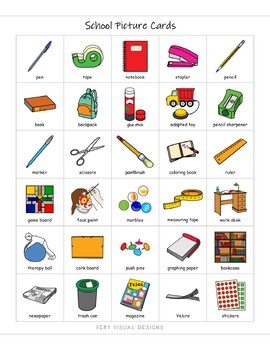 540 School Themed Pecs Picture Cards Autism Speech Therapy Visual