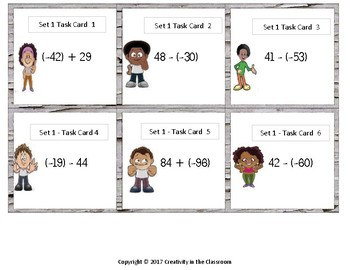 240 Task Cards - Adding and Subtracting Integers