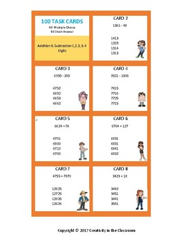 240 Task Cards - Addition and Subtraction of 2,3,and 4 Digit Numbers