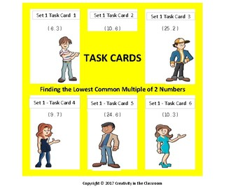 240 Task Cards - LCM - Finding the Lowest Common Multiple of Two Numbers