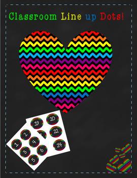 24ct Rainbow/Chevron Line up dots