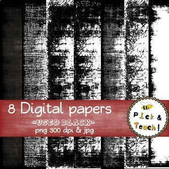 "8 Digital papers ""Used BLACK"""