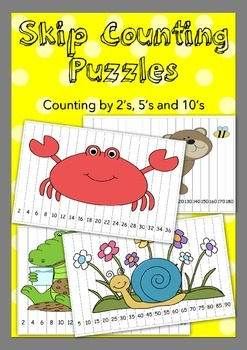 24x Skip Counting Puzzles by 2's, 5's and 10's
