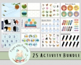 25 Activity Bundle for Toddlers- Busy Book- Busy Binder- For Toddlers- Printable