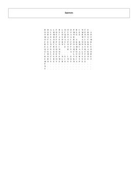 25 Answer Harry Potter Half-Blood Prince Word Search with Key