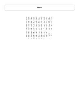 25 Answer Primates Word Search with Key