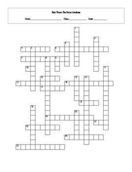 image about Star Wars Crossword Puzzles Printable known as 25 Option Star Wars The Stress Awakens Crossword Worksheet with Primary