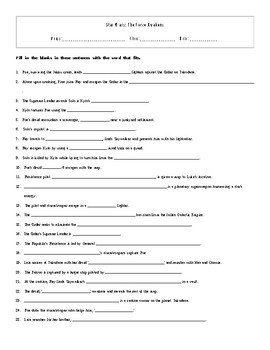 25 Answer Star Wars The Force Awakens Fill In Worksheet with Key