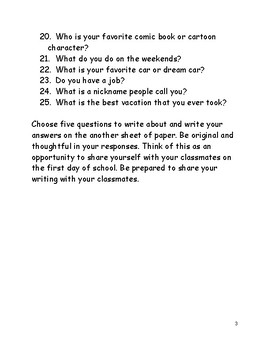 25 Back to School Questions Activity