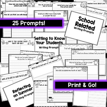 Back to School Writing Prompts & Paper [25 Prompts!]