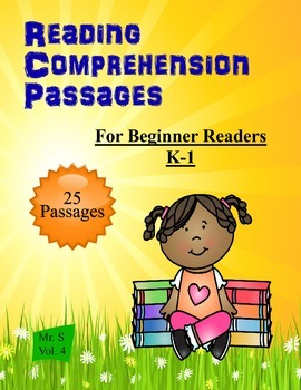 Beginner Reading Comprehension 25 passages K-1 Common Core
