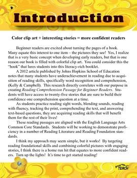 25 Beginner Reading Comprehension passages K-1 Common Core Aligned Volume 5