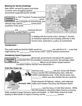 25 - Beginnings of the Cold War - Scaffold/Guided Notes (Blank and Filled-In)