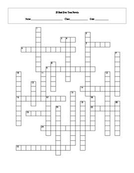 25 Best Ever Teen Novels Crossword Worksheet and Key