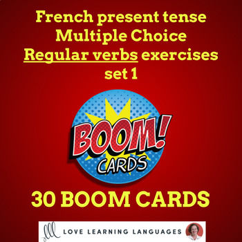25 Boom Cards French regular verbs present Multiple Choice  set 1