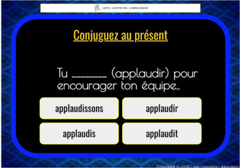 25 Boom Cards French regular verbs present Multiple Choice  set 2