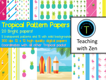 25 Bright and Tropical patterned papers- Pineapples, flamingos, beach, surfing