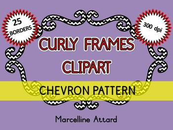 BRACKET FRAMES CLIPART: 25 CURLY FRAMES CLIPART WITH CHEVRON PATTERN