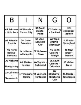25 Cards_ States Name BINGO