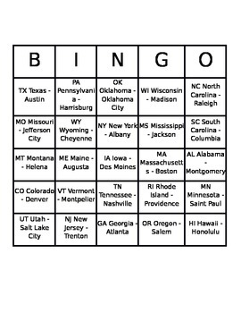 25 Cards_ States Name BINGO