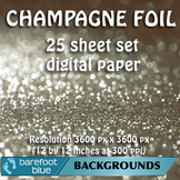 25 Champagne Foil Digital Papers, High-Resolution Printable Backgrounds