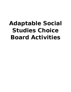 25 Social Studies Choice Board Activities