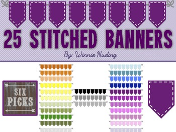 25 Colored Banners with White Stitching
