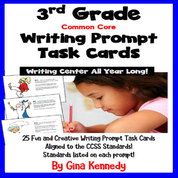 25 Common Core 3rd Grade Writing Prompt Task Cards, Standards Included