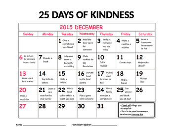 25 Days of Kindness Calendar