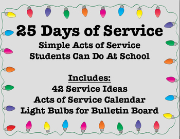 25 Days of Service - Acts of Service for Students