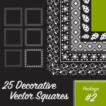 25 Decorative Squares, Vector Art (Package 2)