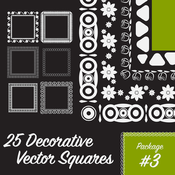 25 Decorative Squares, Vector Art (Package 3)
