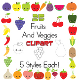 25 Different Fruits And Veggies Clip Art In 5 Different Styles