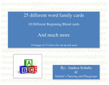 25 Different Word Family Cards, 10 Different Beginning Blend Cards and Much More